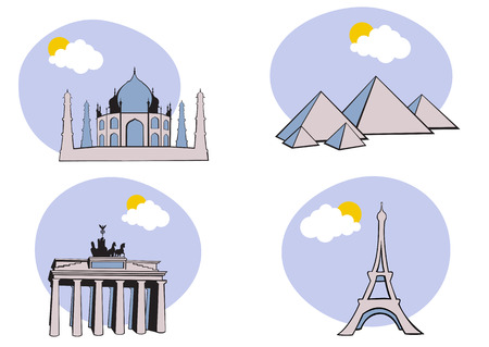 archaeology: Vector illustration of All Over the World Travel. Includes the icons of Acropolis, The peramid of Kheops, Tag Mahal and Eiffel tower. Illustration
