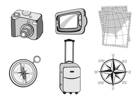 Vector illustration of turistic icons. Includes icons of photo camera, GPS, maps, compass, suitcase and wind rose. Vector