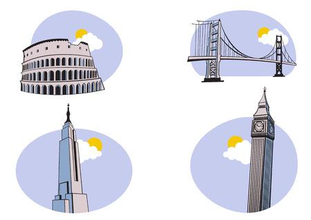 imperium: Vector illustratie van All Over de World Travel Icons. Omvat de iconen van het Colosseum, Golden Gate, de Big Ben en de Empire State Building.