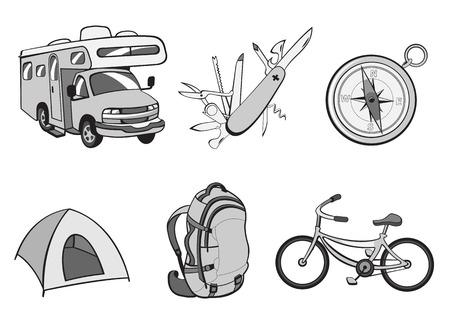 kozik: Vector ilustracją Odkryty i kempingów ikon. Zawiera ikony kompasu, Podróże Trailer, kozik, namiot, plecak i rower.