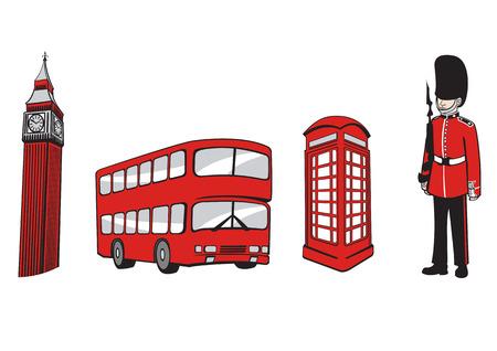 cabina telefono: Ilustraci�n vectorial de todo el Consejo Mundial de Viajes iconos. Elementos Londres.