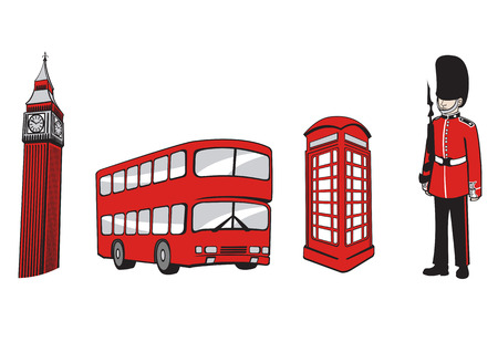 bus anglais: Vector illustration de tout le monde Voyage d'ic�nes. Londres Elements.