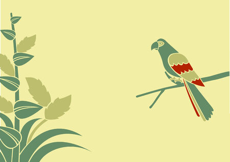 Vector Illustration of a parrot on a branch on a green background Vector