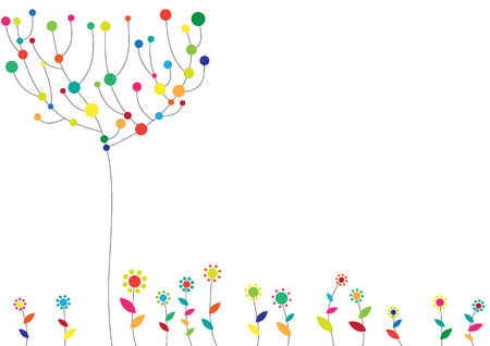 Ilustración vectorial de funky floral fondo con el árbol y flores. Ilustración de vector