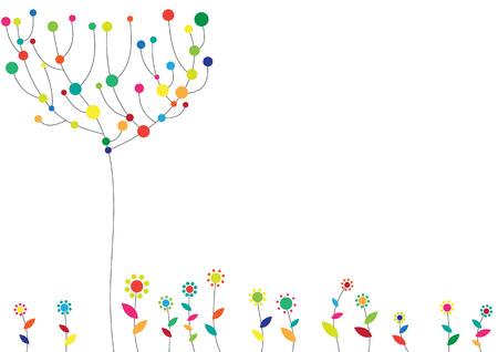 Illustrazione vettoriale di floral background funky con alberi e fiori.