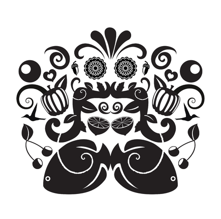 graffity: Vector illustration of abstract objects grupped into one background.