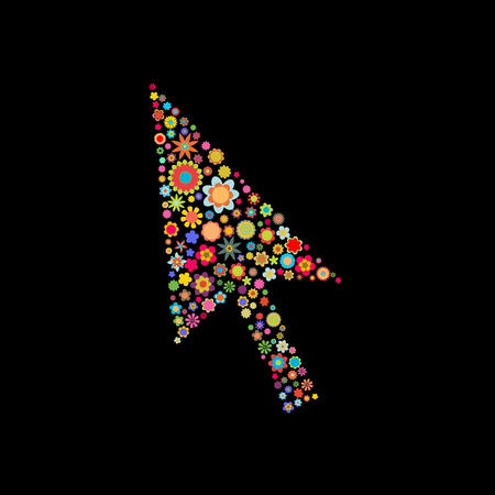 Vector illustration of arrow cursor shape made up a lot of  multicolored small flowers on the black background