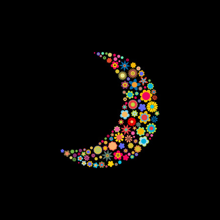 Vector illustration of moon shape made up a lot of  multicolored small flowers on the black background Stock Vector - 4002759