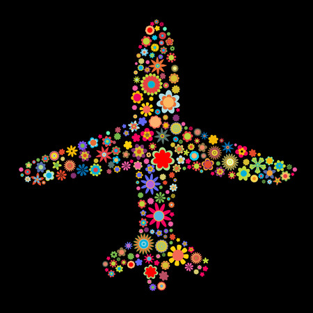 Vector illustration of airplane shape made up a lot of  multicolored small flowers on the black background Stock Vector - 4002771