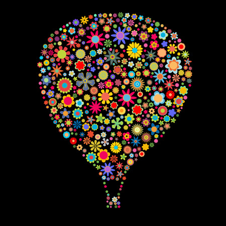 Vector illustration of Hot Air Balloon shape made up a lot of  multicolored small flowers on the black background Vector