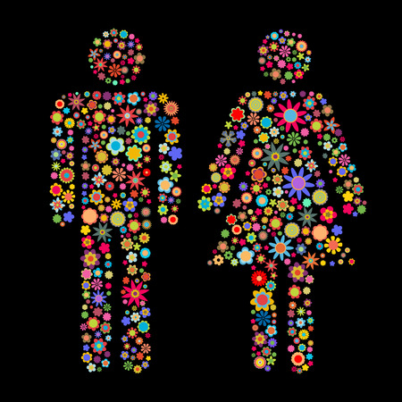Vector illustration of men and women shape made up a lot of  multicolored small flowers on the black background Vector