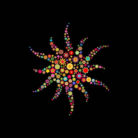 Vector illustration of sun shape made up a lot of  multicolored small flowers on the black background Vector