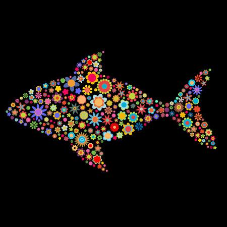 poisson aquarium: Vector illustration de la forme du poisson compos� un grand nombre de petites fleurs multicolores sur fond noir Illustration