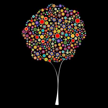 flores peque�as: Ilustraci�n vectorial de la forma del �rbol formado por un mont�n de peque�as flores multicolores en el fondo negro