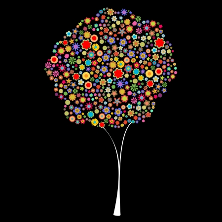 Vector illustration of tree shape made up a lot of  multicolored small flowers on the black background Vector