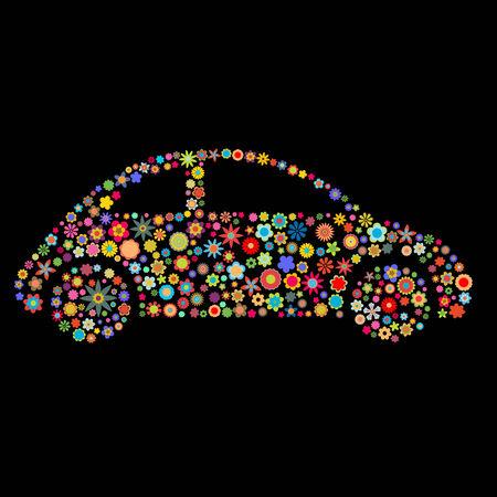 flores peque�as: Ilustraci�n vectorial de forma coche formado por un mont�n de peque�as flores multicolores en el fondo negro
