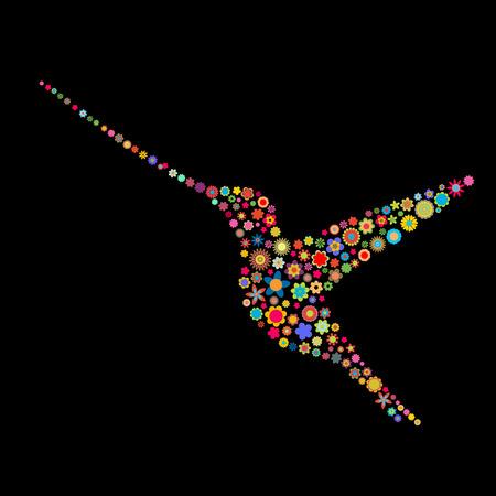 petites fleurs: Vector illustration de l'oiseau forme d'un grand nombre de petites fleurs multicolores sur fond noir