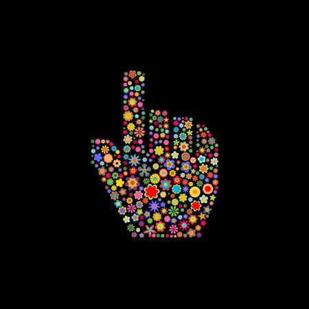 Vector illustration of hand cursor shape made up a lot of  multicolored small flowers on the black background Vector
