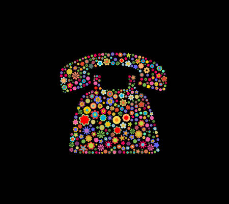 Vector illustration of telephone shape made up a lot of  multicolored small flowers on the black background Vector