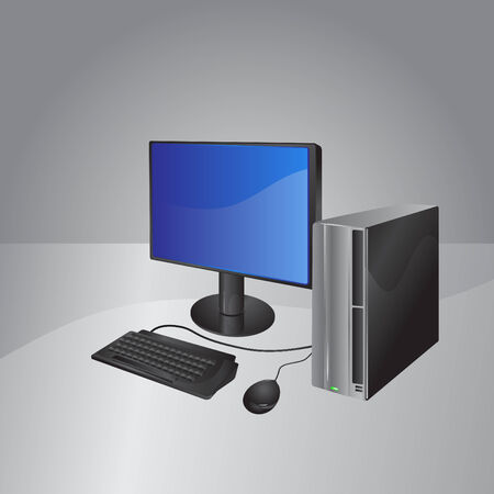 Vector Illustration of A modern computer: LCD Display, computer box, mouse and keyboard  Vector