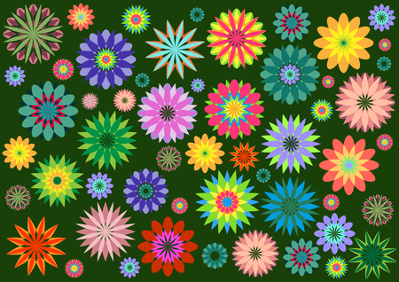 Vector illustration of multicolored funky flowers abstract pattern on green background