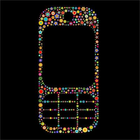 flores peque�as: Ilustraci�n vectorial de forma de tel�fono m�vil, formada por un mont�n de peque�as flores multicolores de sobre el fondo negro