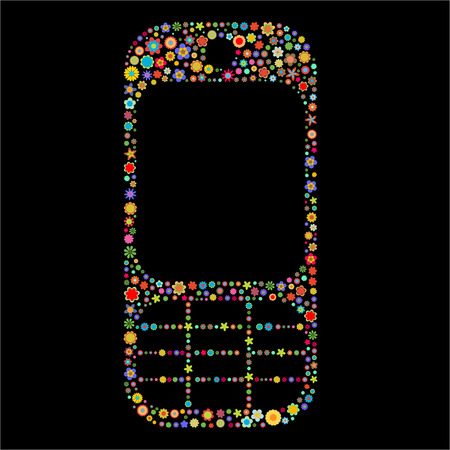 Vector illustration of mobile phone shape made up a lot of  multicolored small flowers on the black background