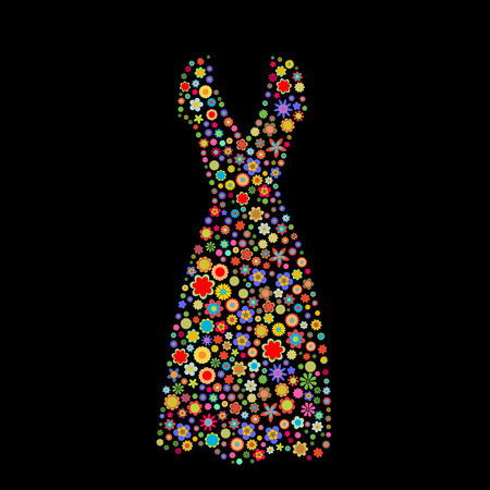 Vector illustration of women dress shape  made up a lot of  multicolored small flowers on the black background Vector