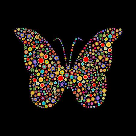 petites fleurs: Illustration vectorielle de forme de papillon constitu�s de beaucoup de fleurs de petites multicolores sur le fond noir  Illustration