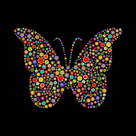 Vector illustration of butterfly shape  made up a lot of  multicolored small flowers on the black background