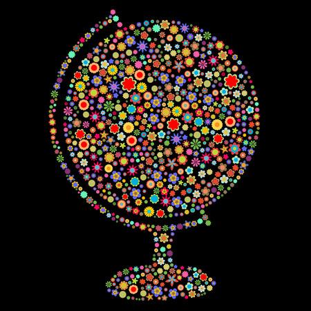 flores peque�as: Ilustraci�n vectorial de forma mundo formado por un mont�n de peque�as flores multicolores en el fondo negro Vectores