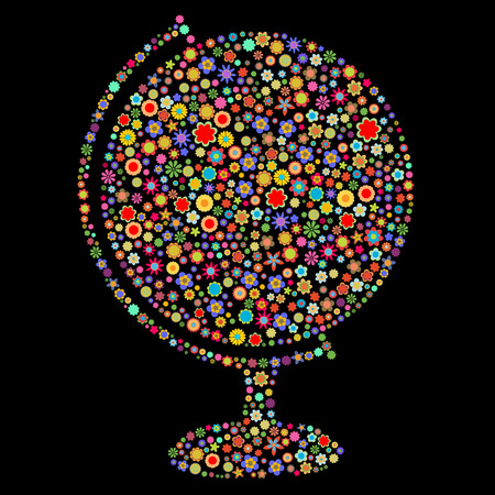 Vector illustration of globe shape  made up a lot of  multicolored small flowers on the black background
