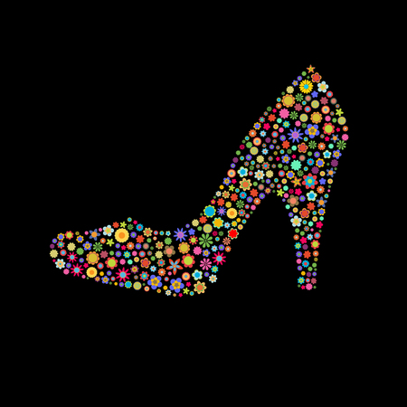 Vector illustration of woman shoe shape  made up a lot of  multicolored small flowers on the black background