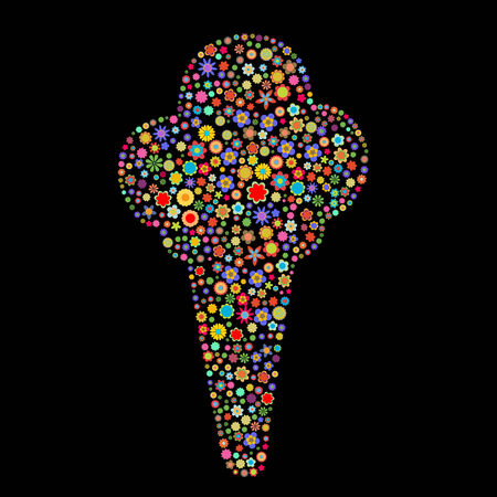 Vector illustration of ice cream shape  made up a lot of  multicolored small flowers on the black background Vector
