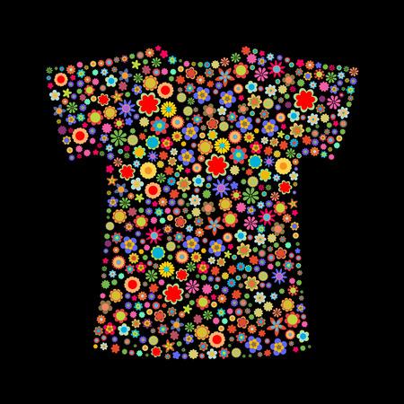 flores peque�as: Ilustraci�n vectorial de la camiseta de forma formado por un mont�n de peque�as flores multicolores en el fondo negro