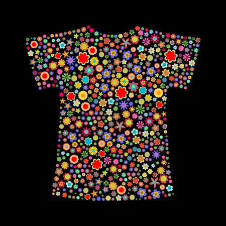 Vector illustration of t-shirt shape  made up a lot of  multicolored small flowers on the black background