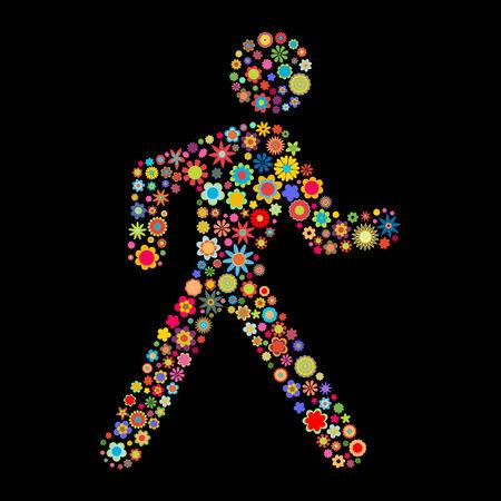runing: Ilustraci�n vectorial de forma runing hombres formado por un mont�n de peque�as flores multicolores sobre el fondo negro Vectores