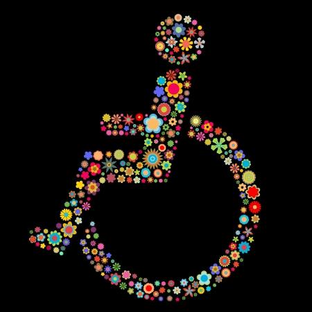 Vector illustration Zeichen Form von Behinderung, die eine Menge von kleinen bunten Blumen auf dem schwarzen Hintergrund