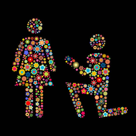 small flowers: Vector illustration of couple shape  made up a lot of  multicolored small flowers on the black background Illustration