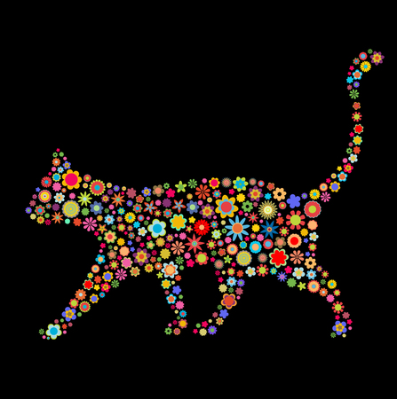 flowers cat: Vector illustration of cat shape  made up a lot of  multicolored small flowers on the black background