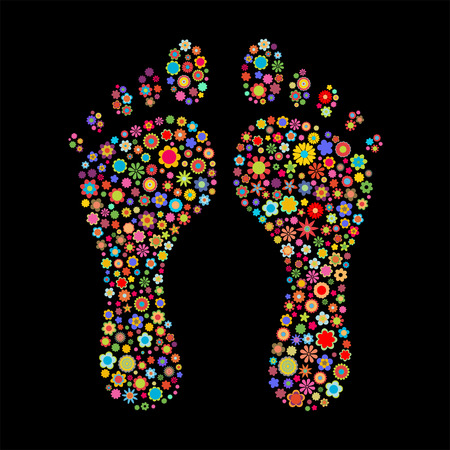 Vector illustration of footprint  shape  made up a lot of  multicolored small flowers on the black background Vector
