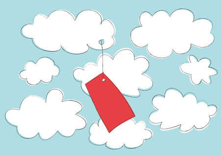 Vector illustration of funny cartoon label attached to the cloud on the sky background.