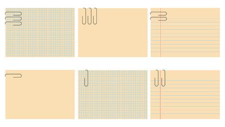 Vector illustration des feuilles de bloc-notes r�tro fix�s. Les draps sont blanchis, de sorte que vous pouvez mettre votre propre texte. Illustration