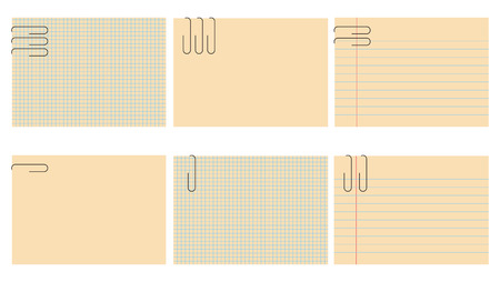 put: Vector illustration of retro notepad sheets set. The sheets are blanked, so you can put your own text. Illustration