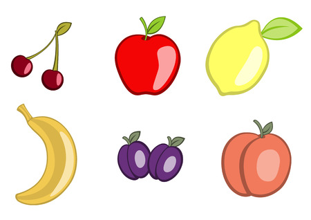 Vector illustration of funny, cute fruit icons. Includes cherry, apple, lemon, banana, plum and apricot. Vector