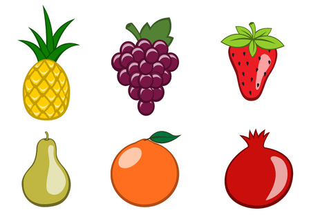 Vector illustration of funny, cute fruit icons. Includes orange, strawberry, grape, pear, pineapple, pomegranate. Vector