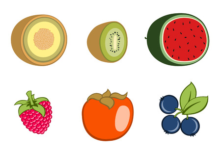 guava fruit: Vector illustration of funny, cute fruit icons. Includes guava , kiwi, watermelon, rasberry, persimmon , blueberry.
