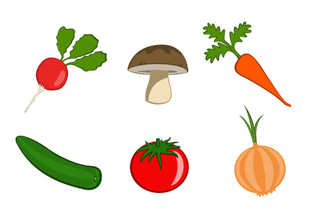 Vector illustration of funny, cute vegetable icons. Includes radish, mushroom, carrot, cucumber, tomato and onion.  Vector