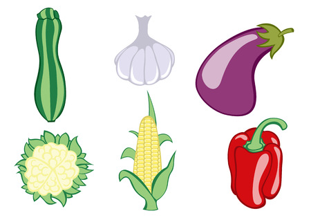 Vector illustration of funny, cute vegetable icons. Includes zucchini , garlic, eggplant, cauliflower , corn and pepper . Stock Vector - 4037318