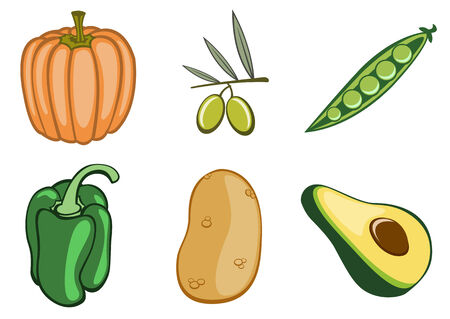 Vector illustration of funny, cute vegetable icons. Includes pumpkin , olive, pea, pepper , potato and avocado . Vector